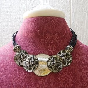 Chico's Black Beads Silver Tone Metal Necklace